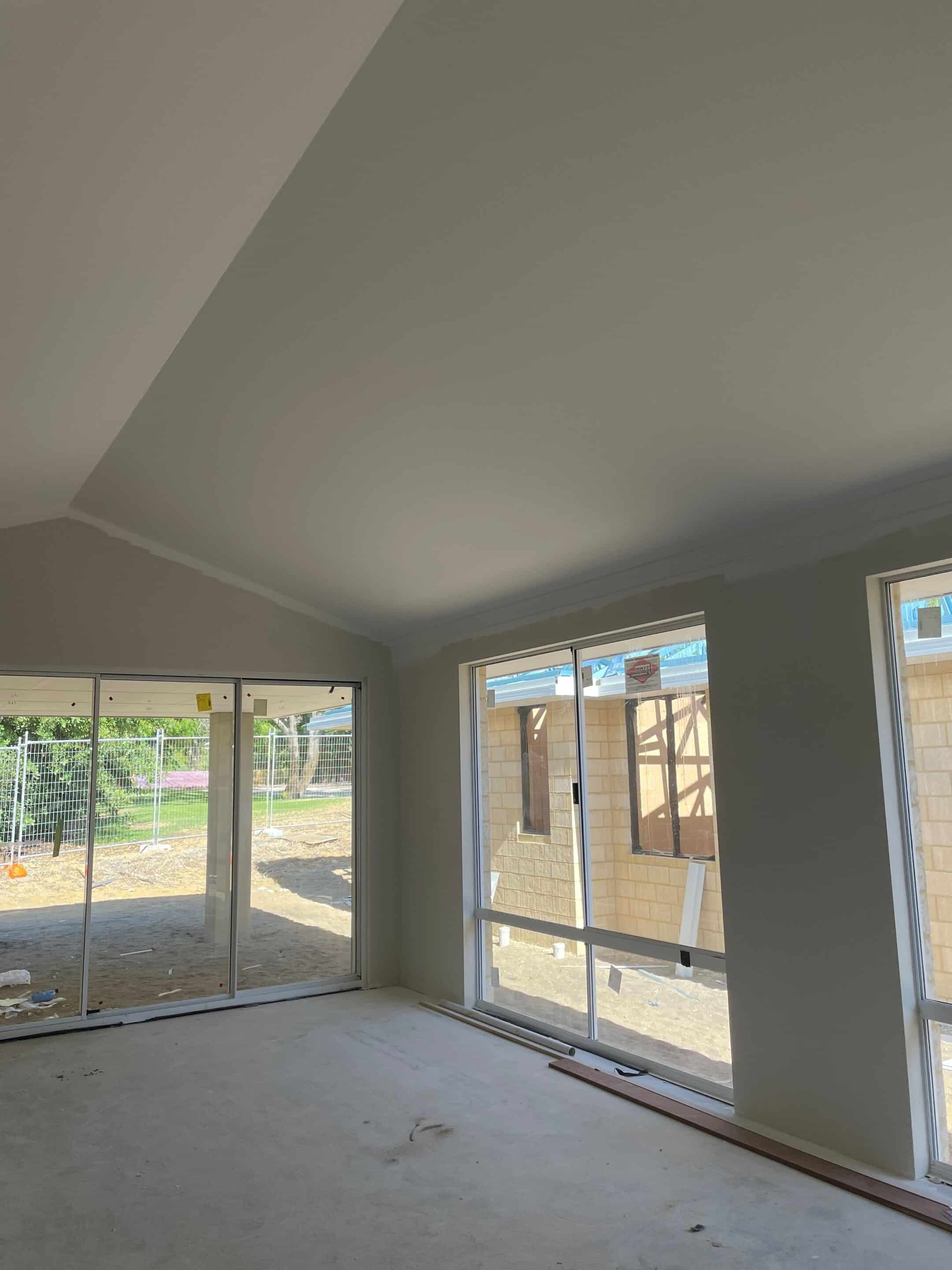 Inside of a house with raked ceilings