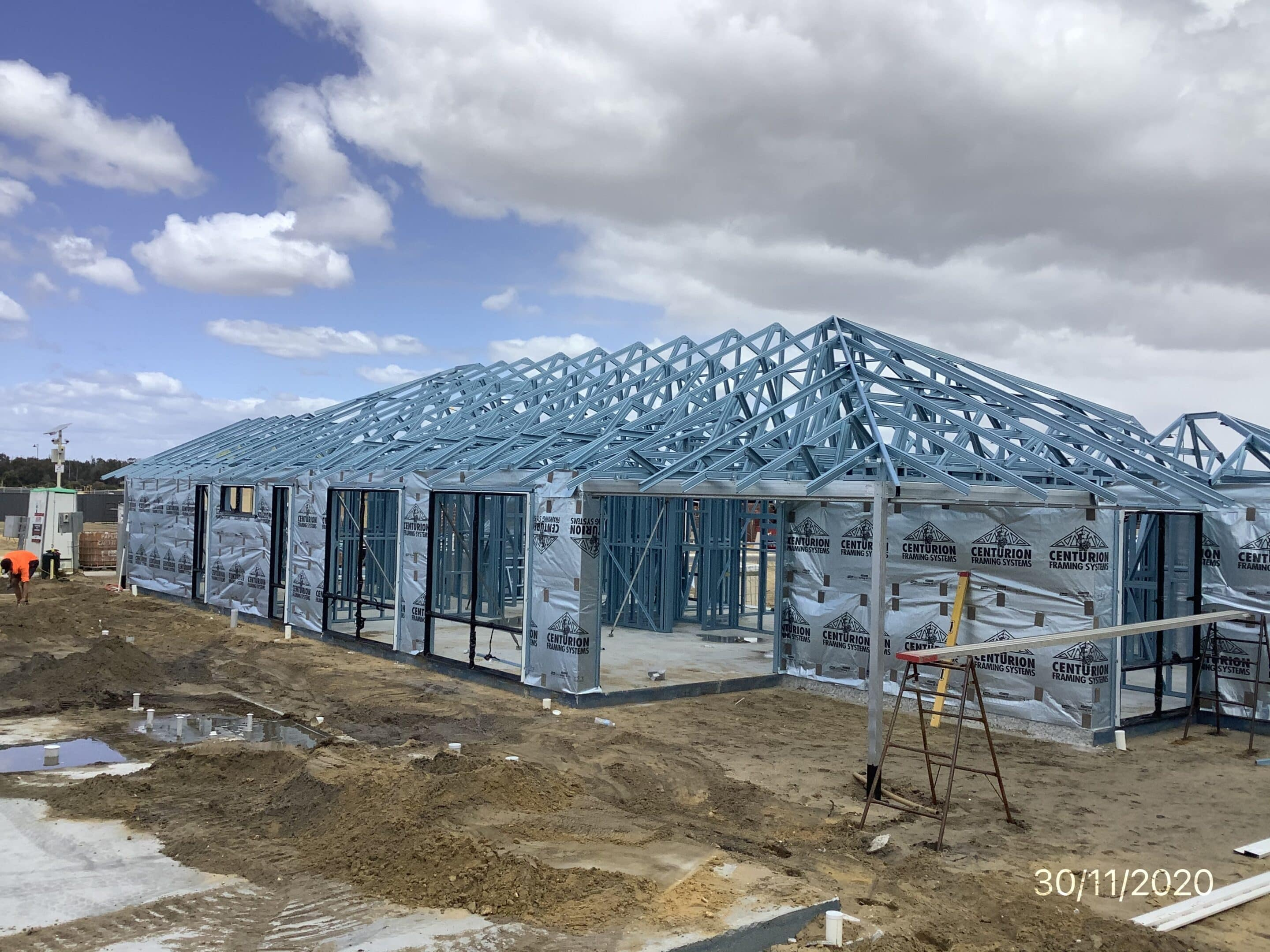 Steel framing of a house with raked ceilings